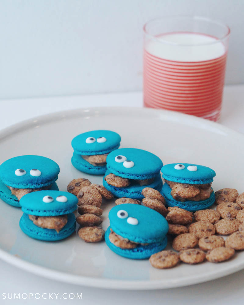 Cookie Monster Macarons with Cookie Dough Filling Recipe